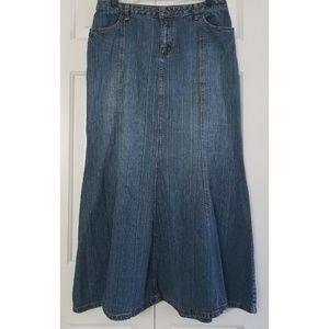 a.n.a Modest Flare Mermaid Denim Maxi Skirt